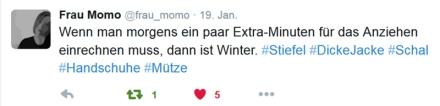 Tweet von Frau Momo vom 19. Januar 2016, Screenshot: Janne Klöpper