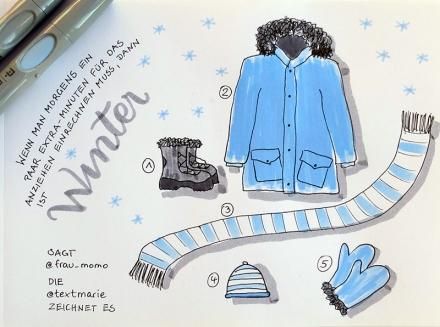 Sketchnote Winter mit Stifeln, Jacke, Schal Mütze und Handschuhen, Zeichnung und Foto: Janne Klöpper