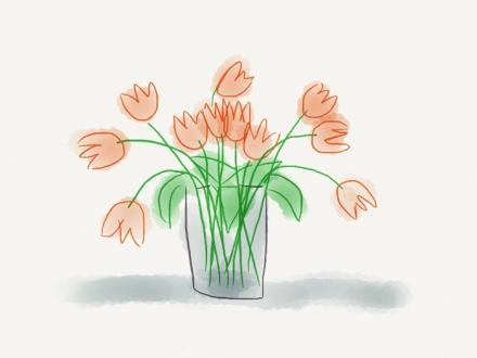 Rote Tulpen mit dem Programm paper auf dem IPad gezeichnet, Zeichnung: Janne Klöpper