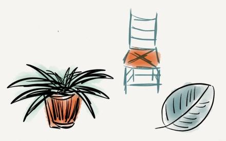 Pflanze, Stuhl und Blatt mit dem Programm paper auf dem iPad gezeichnet. Zeichnung: Janne Klöpper