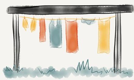 Wäsche auf Wäscheleine mit dem Programm Paper gezeichnet, Zeichnung: Janne Klöpper