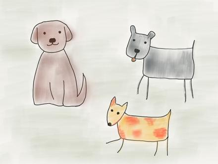 Drei Hunde. Zeichnung und Foto: Janne Klöpper