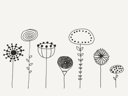 Gezeichnete Phantasieblumen. Zeichnung und Foto: Janne Klöpper