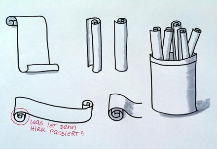Skizzen zu aufgerolltem Papier; Zeichnung und Foto: Janne Klöpper