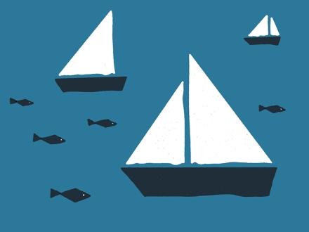 Segelboote und Fische, Zeichnung und Foto: Janne Klöpper