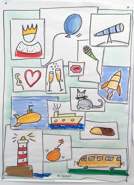 Verschiedene gezeichnete Symbole wie Bus, Brot, Katze, König, Leuchtturm, Luftballon, Rakete, Teleskop, U-Boot. Zeichnung und Foto: Janne Klöpper