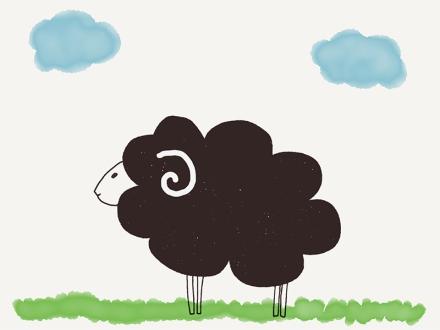 Ein schwarzes Schaf auf einer Wiese. Zeichnung und Foto: Janne Klöpper