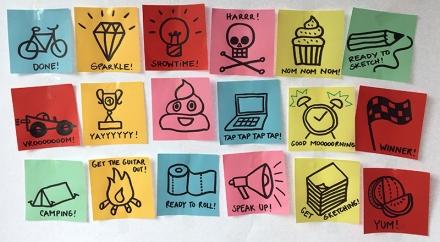 18 verschiedene Bildvokabeln für Sketchnotes, zum Beispiel Fahrrad, Cupcake, Megafon, Lagerfeuer, Wassermelone. Zeichnungen und Foto: Janne Klöpper