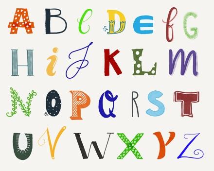 Alle Buchstaben des Alphabets, gezeichnet auf dem iPad mit der App Paper 53. Zeichnung und Foto: Janne Klöpper