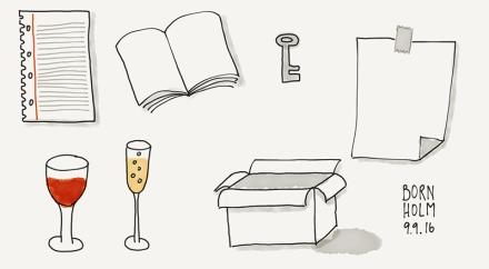 Bildvokabeln für Sketchnotes: Collegeblock-Seite, Buch, Schlüssel, Blatt Papier, ein Glas Rotwein, ein Glas Sekt und offener Karton. Zeichnung und Foto: Janne Klöpper
