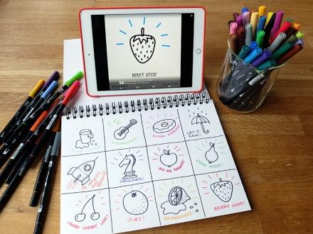 12 verschiedene Bildvokabeln für Sketchnotes, zum Beispiel Gitarre, Donut, Regenschirm, Rakete, Kirschen, Orange, Erdbeere. Zeichnungen und Foto: Janne Klöpper