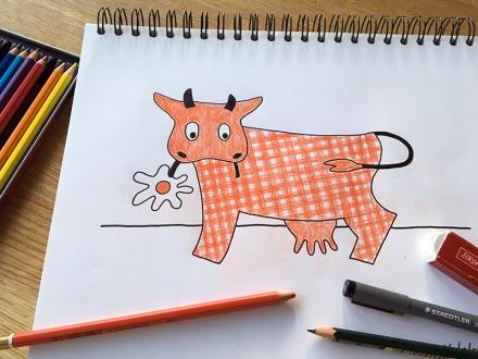 Buntstift-Zeichnung der Kuh Karoline, Werbefigur der Molkerei Arla in den sechziger Jahren. Zeichnung und Foto: Janne Klöpper