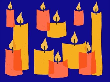 Zeichnung mit gelben und roten Kerzen in verschiedenen Größen vor blauem Hintergrund. Zeichnung und Foto: Janne Klöpper