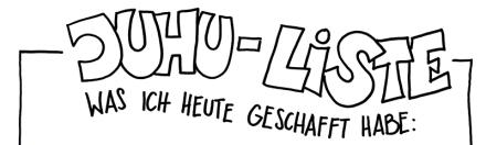 Juhu-Liste: Was ich heute alles geschafft habe. Ausschnitt oben. Zeichnung und Foto: Janne Klöpper
