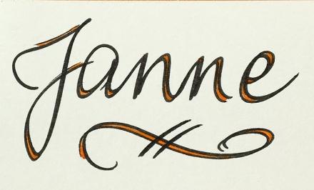 Schriftzug Janne in Schreibschrift, schwarz mit orangen Akzenten. Foto und Lettering: Janne Klöpper