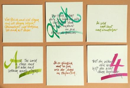 Sechs handgeschriebene quadratische Karten mit verschiedenen Sprüchen. Letterings und Foto: Janne Klöpper