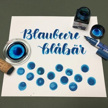Lettering des Wortes Blaubeere und blåbär mit einem Ecoline Brushpen. Zeichnung und Foto: Janne Klöpper