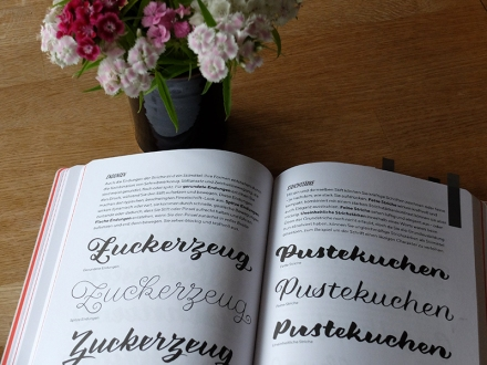 Chris Campe, Praxisbuch Brush Lettering, Seite 112 und 113. mitp-Verlag 2018. Foto: Janne Klöpper