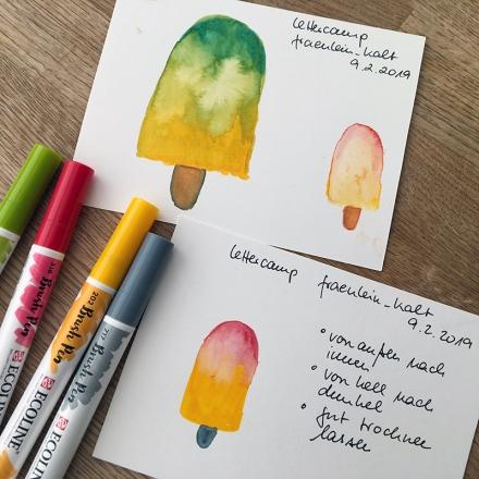 Eis am Stiel, Aquarell mit Brush Pen. Zeichnung und Foto: Janne Klöpper