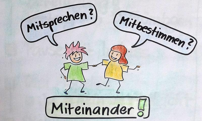 Zeichnung von zwei Kindern, in Sprechblasen die Begriffe Mitsprechen, Mitbestimmen, Miteinander. Zeichnung und Foto: Janne Klöpper