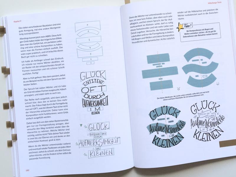 """Seite 180-181 aus dem Buch """"Hand-Lettering Layout und Komposition"""" von Julia Winkler, mitp-Verlag 2021; Foto: Janne Klöpper"""