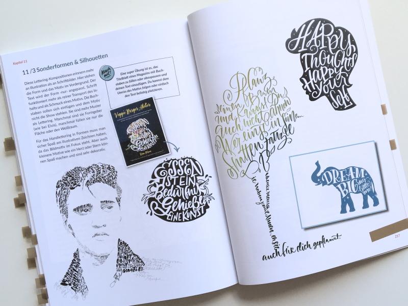 """Seite 216-217 aus dem Buch """"Hand-Lettering Layout und Komposition"""" von Julia Winkler, mitp-Verlag 2021; Foto: Janne Klöpper"""