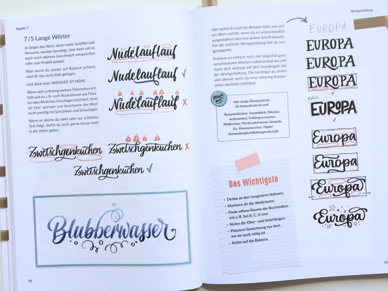 """Seite 96-97 aus dem Buch """"Hand-Lettering Layout und Komposition"""" von Julia Winkler, mitp-Verlag 2021; Foto: Janne Klöpper"""